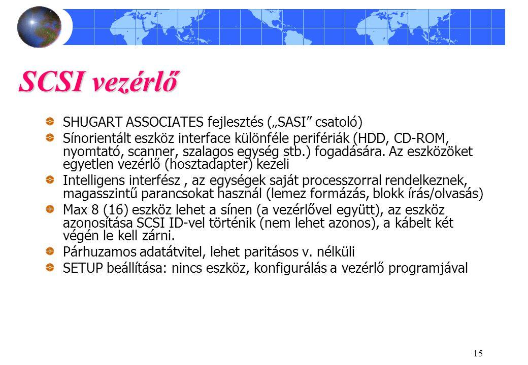 """15 SCSI vezérlő SHUGART ASSOCIATES fejlesztés (""""SASI csatoló) Sínorientált eszköz interface különféle perifériák (HDD, CD-ROM, nyomtató, scanner, szalagos egység stb.) fogadására."""