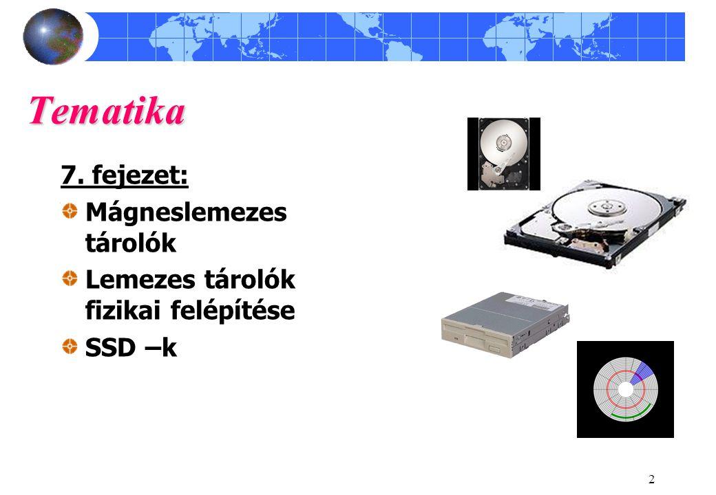 2 Tematika 7. fejezet: Mágneslemezes tárolók Lemezes tárolók fizikai felépítése SSD –k