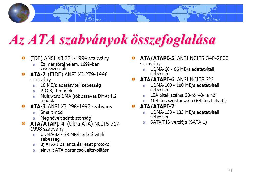 31 Az ATA szabványok összefoglalása (IDE) ANSI X3.221-1994 szabvány Ez már történelem, 1999-ben visszavonták ATA-2 (EIDE) ANSI X3.279-1996 szabvány 16 MB/s adatátviteli sebesség PIO 3, 4 módok Multiword DMA (többszavas DMA) 1,2 módok ATA-3 ANSI X3.298-1997 szabvány Smart mód Megnövelt adatbiztonság ATA/ATAPI-4 (Ultra ATA) NCITS 317- 1998 szabvány UDMA-33 - 33 MB/s adatátviteli sebesség új ATAPI parancs és reset protokoll elavult ATA parancsok eltávolítása ATA/ATAPI-5 ANSI NCITS 340-2000 szabvány UDMA-66 - 66 MB/s adatátviteli sebesség ATA/ATAPI-6 ANSI NCITS ??.