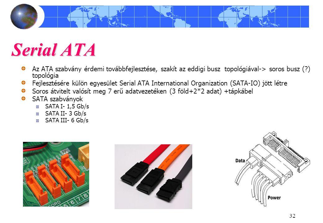 32 Serial ATA Az ATA szabvány érdemi továbbfejlesztése, szakít az eddigi busz topológiával-> soros busz (?) topológia Fejlesztésére külön egyesület Serial ATA International Organization (SATA-IO) jött létre Soros átvitelt valósít meg 7 erű adatvezetéken (3 föld+2*2 adat) +tápkábel SATA szabványok SATA I- 1,5 Gb/s SATA II- 3 Gb/s SATA III- 6 Gb/s