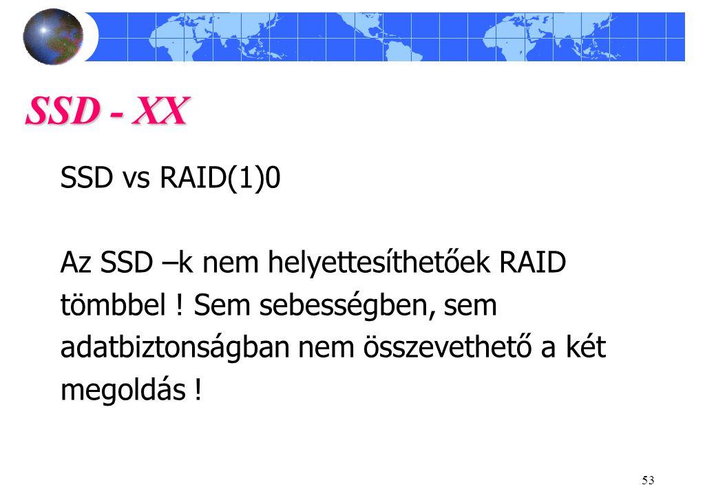 53 SSD - XX SSD vs RAID(1)0 Az SSD –k nem helyettesíthetőek RAID tömbbel .
