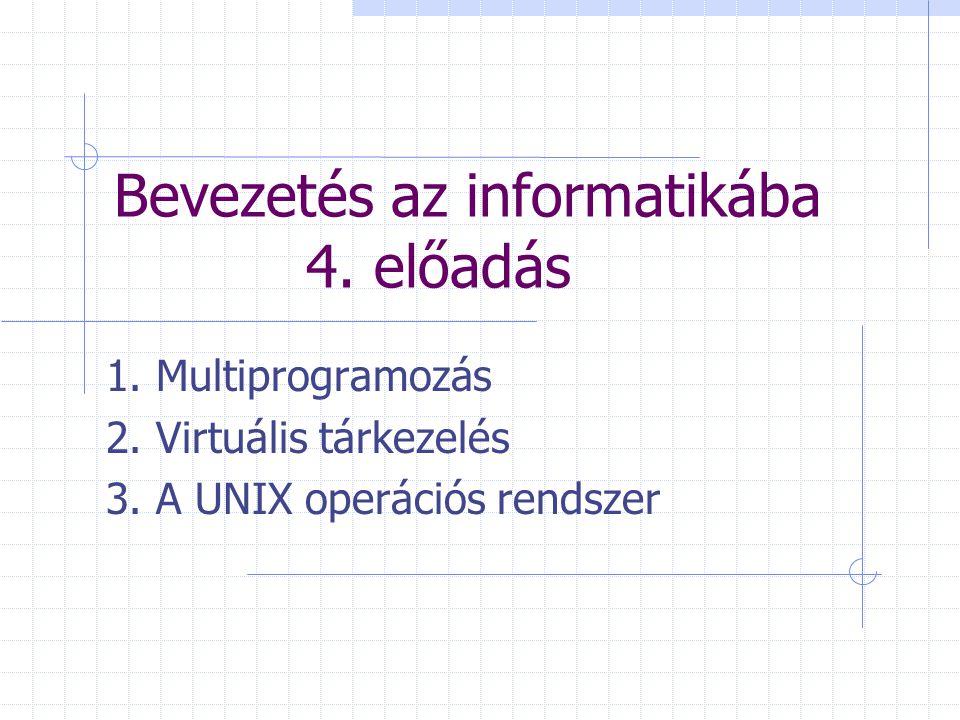 Bevezetés az informatikába 4. előadás 1. Multiprogramozás 2. Virtuális tárkezelés 3. A UNIX operációs rendszer