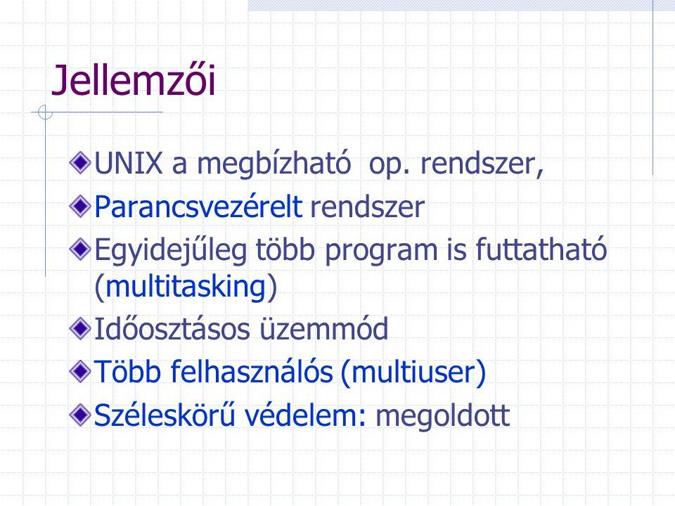 Jellemzői UNIX a megbízható op. rendszer, Parancsvezérelt rendszer Egyidejűleg több program is futtatható (multitasking) Időosztásos üzemmód Több felh