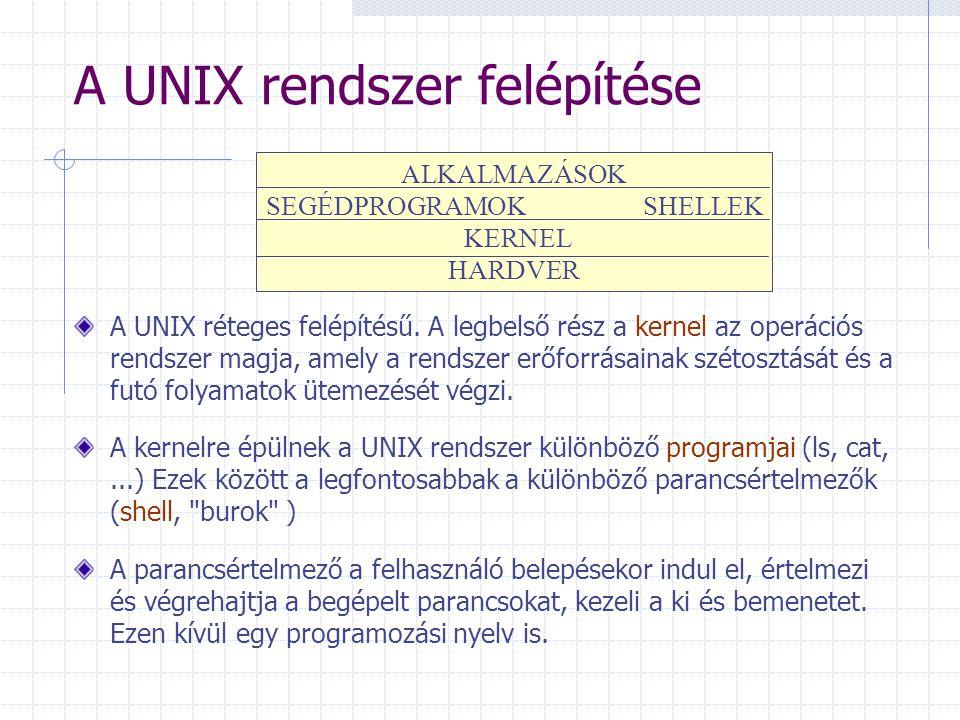 A UNIX rendszer felépítése A UNIX réteges felépítésű. A legbelső rész a kernel az operációs rendszer magja, amely a rendszer erőforrásainak szétosztás
