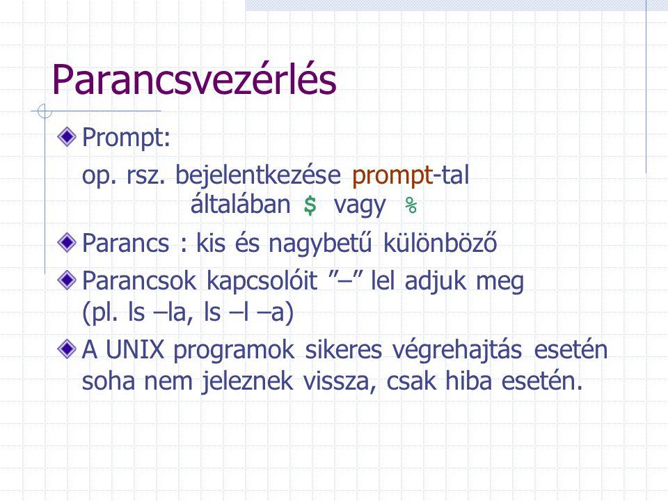 """Parancsvezérlés Prompt: op. rsz. bejelentkezése prompt-tal általában $ vagy % Parancs : kis és nagybetű különböző Parancsok kapcsolóit """"–"""" lel adjuk m"""
