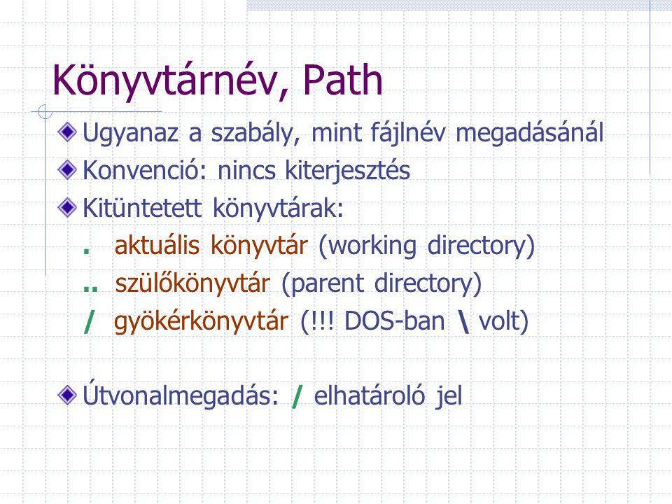 Könyvtárnév, Path Ugyanaz a szabály, mint fájlnév megadásánál Konvenció: nincs kiterjesztés Kitüntetett könyvtárak:. aktuális könyvtár (working direct