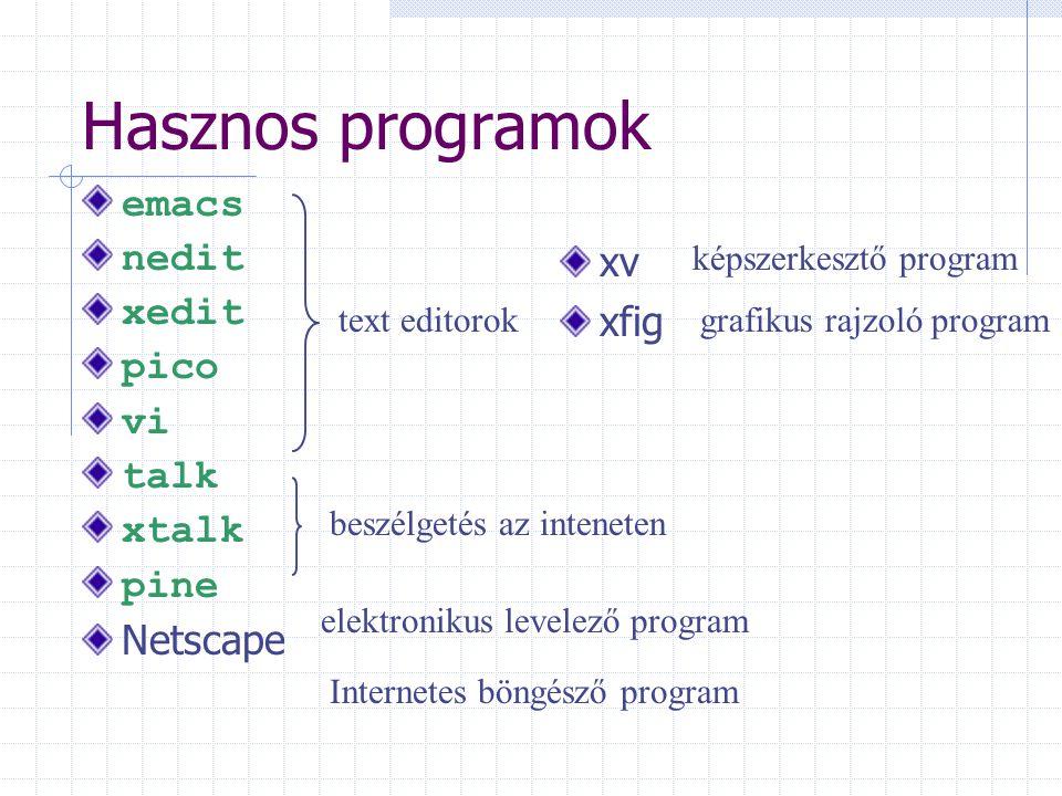 Hasznos programok emacs nedit xedit pico vi talk xtalk pine Netscape text editorok beszélgetés az inteneten elektronikus levelező program Internetes b