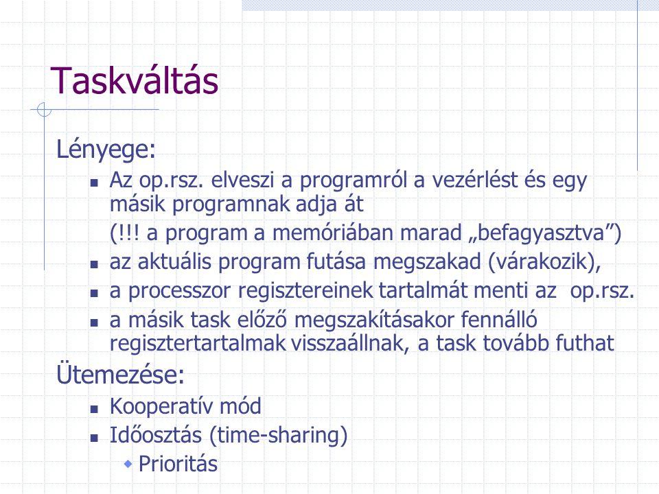 """Taskváltás Lényege: Az op.rsz. elveszi a programról a vezérlést és egy másik programnak adja át (!!! a program a memóriában marad """"befagyasztva"""") az a"""