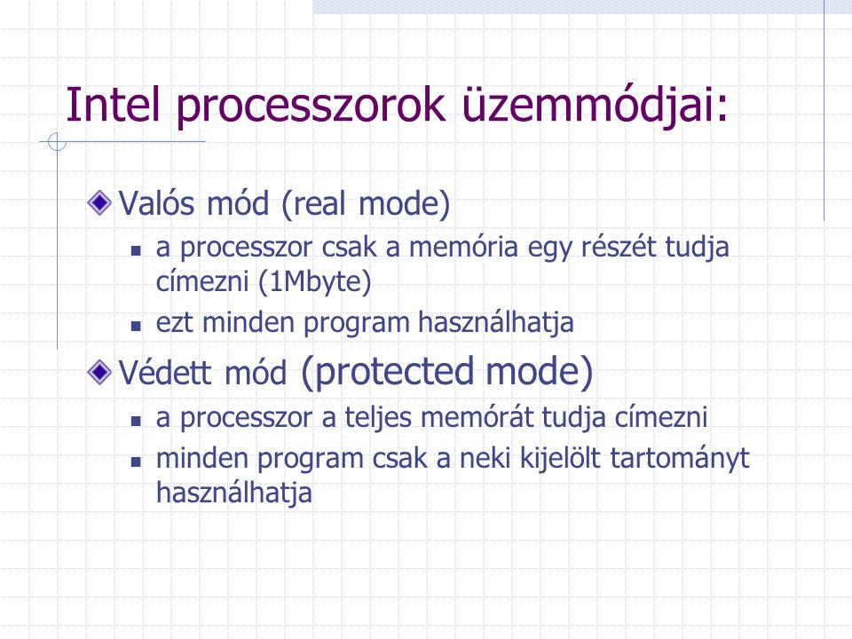 Intel processzorok üzemmódjai: Valós mód (real mode) a processzor csak a memória egy részét tudja címezni (1Mbyte) ezt minden program használhatja Véd