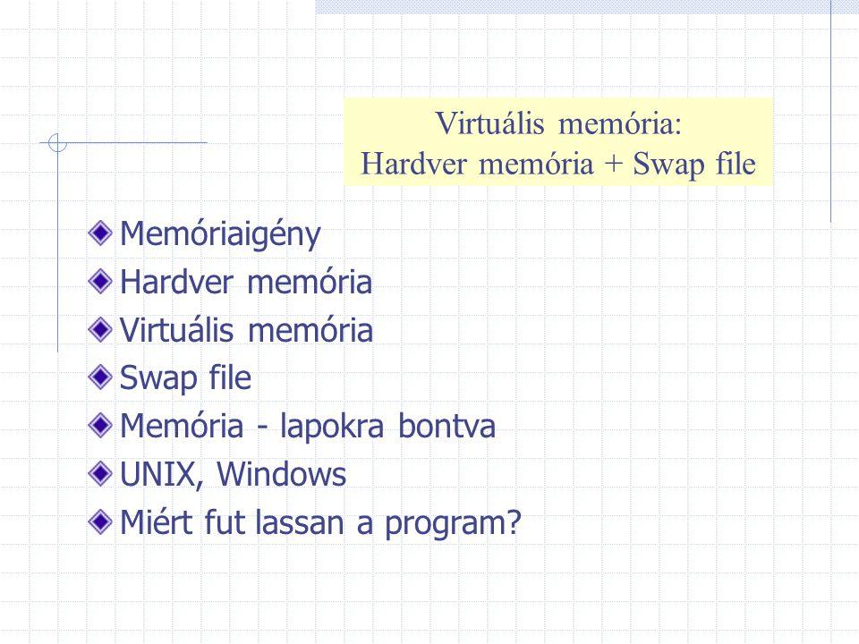 Memóriaigény Hardver memória Virtuális memória Swap file Memória - lapokra bontva UNIX, Windows Miért fut lassan a program? Virtuális memória: Hardver