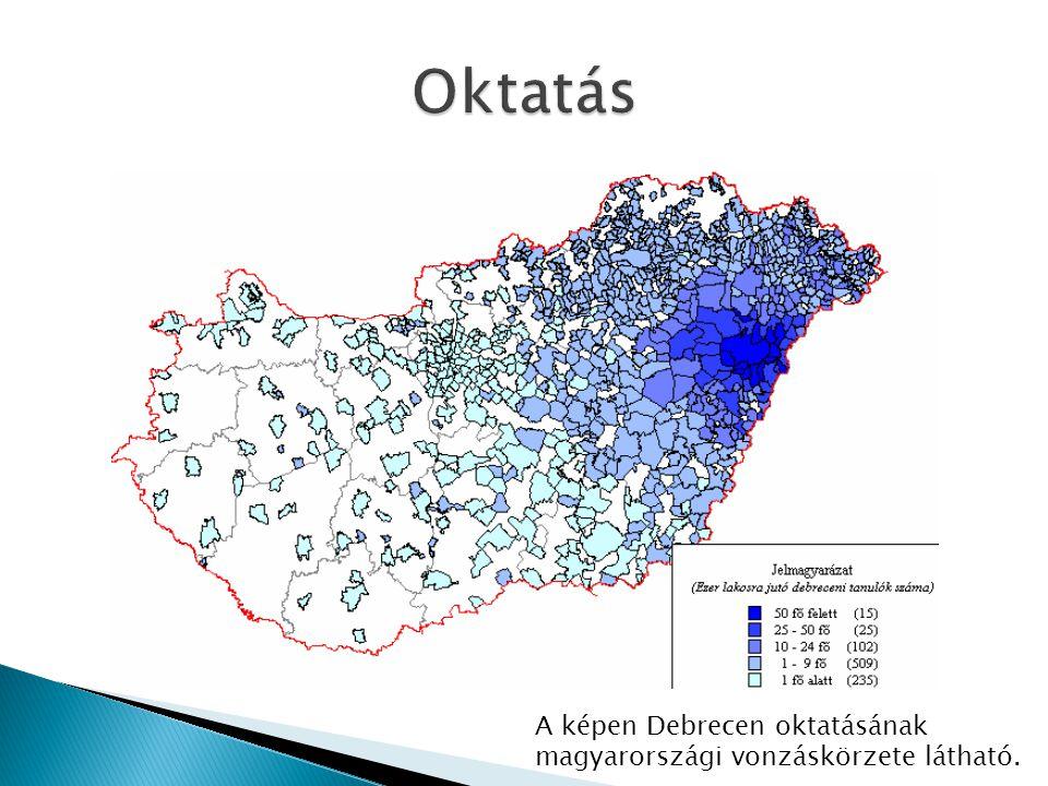 A képen Debrecen oktatásának magyarországi vonzáskörzete látható.