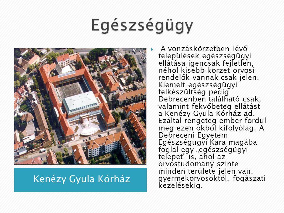 Kenézy Gyula Kórház  A vonzáskörzetben lévő települések egészségügyi ellátása igencsak fejletlen, néhol kisebb körzet orvosi rendelők vannak csak jel