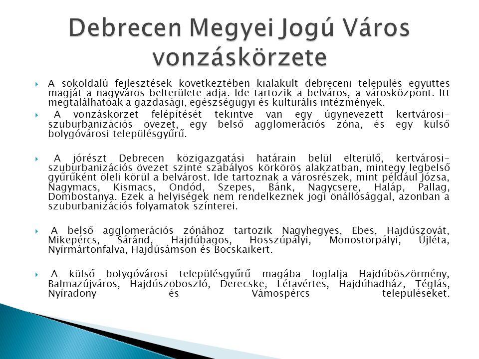  A sokoldalú fejlesztések következtében kialakult debreceni település együttes magját a nagyváros belterülete adja. Ide tartozik a belváros, a városk