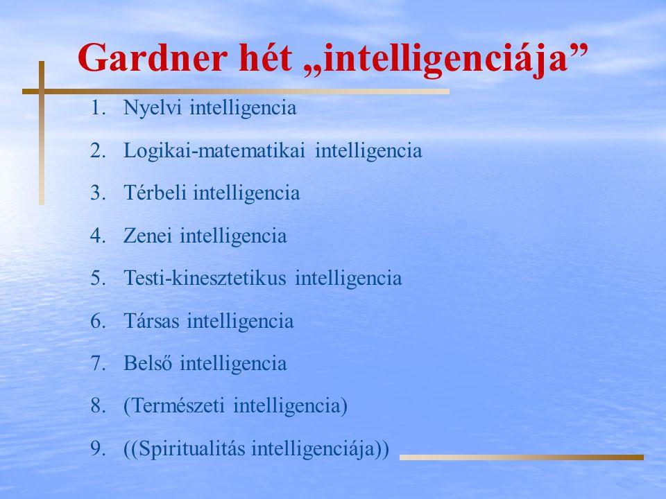 "Gardner hét ""intelligenciája"" 1.Nyelvi intelligencia 2.Logikai-matematikai intelligencia 3.Térbeli intelligencia 4.Zenei intelligencia 5.Testi-kineszt"