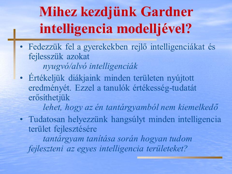 Mihez kezdjünk Gardner intelligencia modelljével? Fedezzük fel a gyerekekben rejlő intelligenciákat és fejlesszük azokat nyugvó/alvó intelligenciák Ér