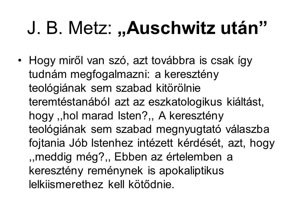 """J. B. Metz: """"Auschwitz után"""" Hogy miről van szó, azt továbbra is csak így tudnám megfogalmazni: a keresztény teológiának sem szabad kitörölnie teremté"""