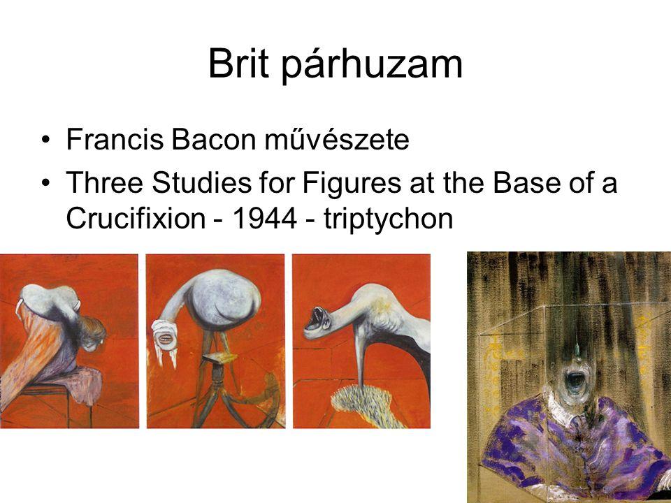 Brit párhuzam Francis Bacon művészete Three Studies for Figures at the Base of a Crucifixion - 1944 - triptychon