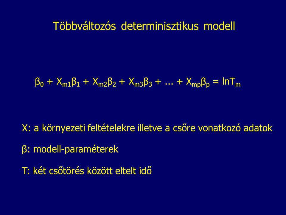 Többváltozós determinisztikus modell X: a környezeti feltételekre illetve a csőre vonatkozó adatok β: modell-paraméterek T: két csőtörés között eltelt idő β 0 + X m1 β 1 + X m2 β 2 + X m3 β 3 +...