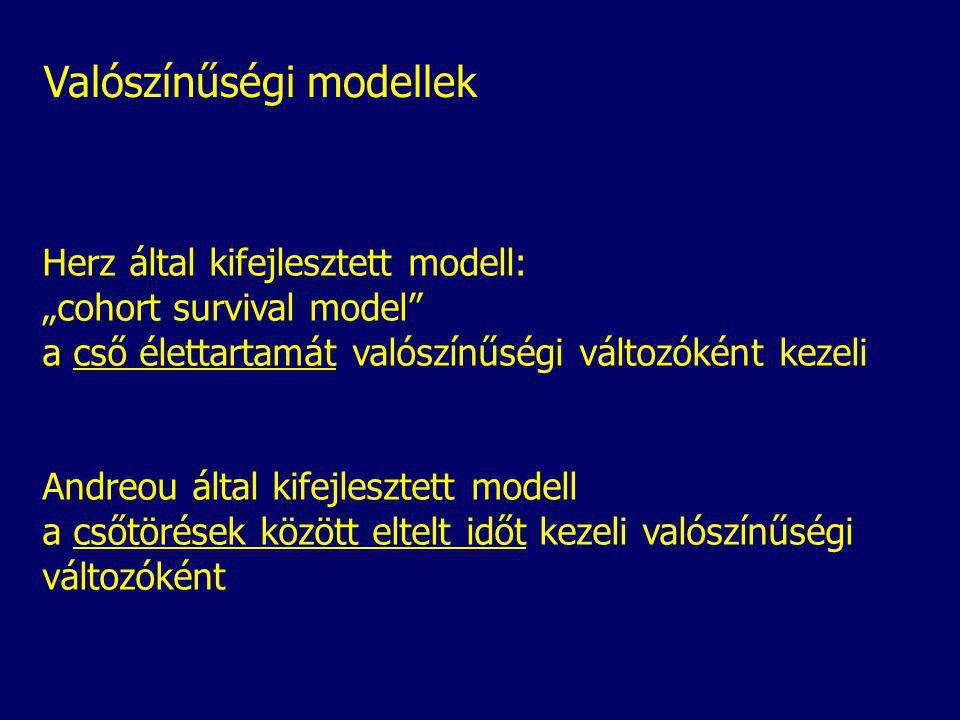 """Valószínűségi modellek Herz által kifejlesztett modell: """"cohort survival model a cső élettartamát valószínűségi változóként kezeli Andreou által kifejlesztett modell a csőtörések között eltelt időt kezeli valószínűségi változóként"""