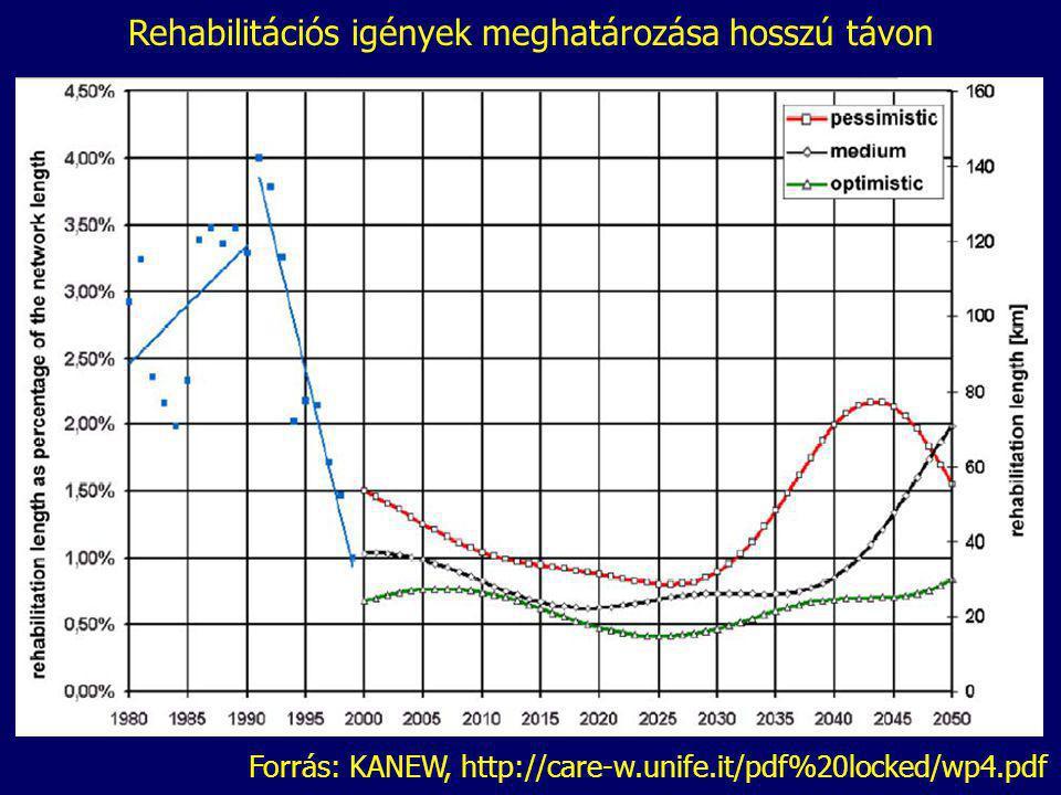 Forrás: KANEW, http://care-w.unife.it/pdf%20locked/wp4.pdf Rehabilitációs igények meghatározása hosszú távon