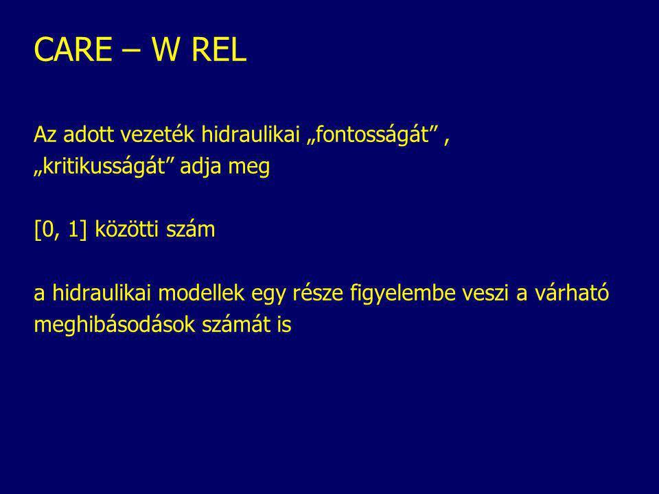 """CARE – W REL Az adott vezeték hidraulikai """"fontosságát , """"kritikusságát adja meg [0, 1] közötti szám a hidraulikai modellek egy része figyelembe veszi a várható meghibásodások számát is"""