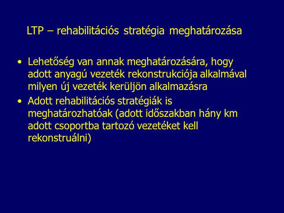 LTP – rehabilitációs stratégia meghatározása Lehetőség van annak meghatározására, hogy adott anyagú vezeték rekonstrukciója alkalmával milyen új vezeték kerüljön alkalmazásra Adott rehabilitációs stratégiák is meghatározhatóak (adott időszakban hány km adott csoportba tartozó vezetéket kell rekonstruálni)