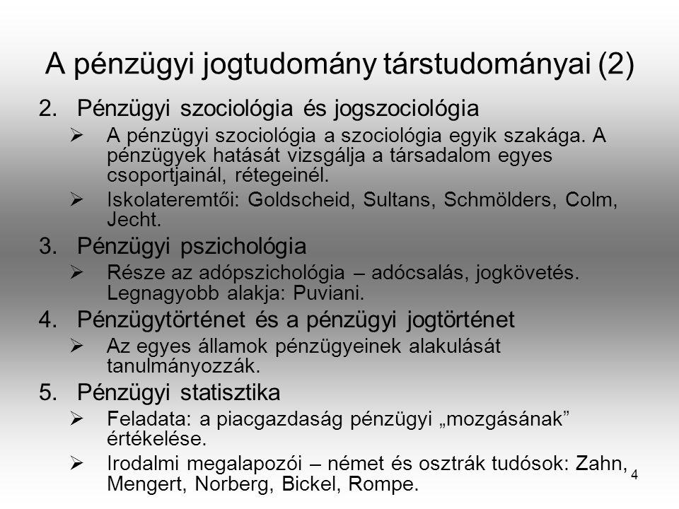 4 A pénzügyi jogtudomány társtudományai (2) 2.Pénzügyi szociológia és jogszociológia  A pénzügyi szociológia a szociológia egyik szakága. A pénzügyek