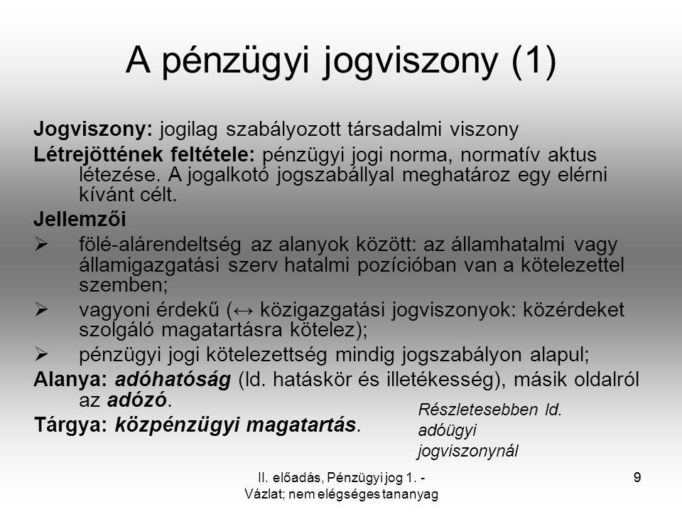 9II. előadás, Pénzügyi jog 1. - Vázlat; nem elégséges tananyag 9 A pénzügyi jogviszony (1) Jogviszony: jogilag szabályozott társadalmi viszony Létrejö