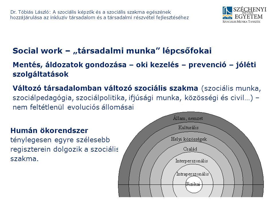 """Social work – """"társadalmi munka"""" lépcsőfokai Mentés, áldozatok gondozása – oki kezelés – prevenció – jóléti szolgáltatások Változó társadalomban válto"""