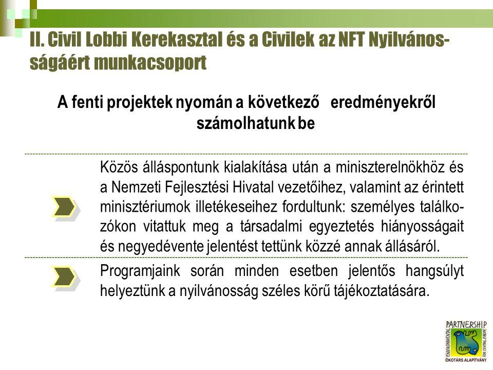 II. Civil Lobbi Kerekasztal és a Civilek az NFT Nyilvános- ságáért munkacsoport A fenti projektek nyomán a következő eredményekről számolhatunk be Köz