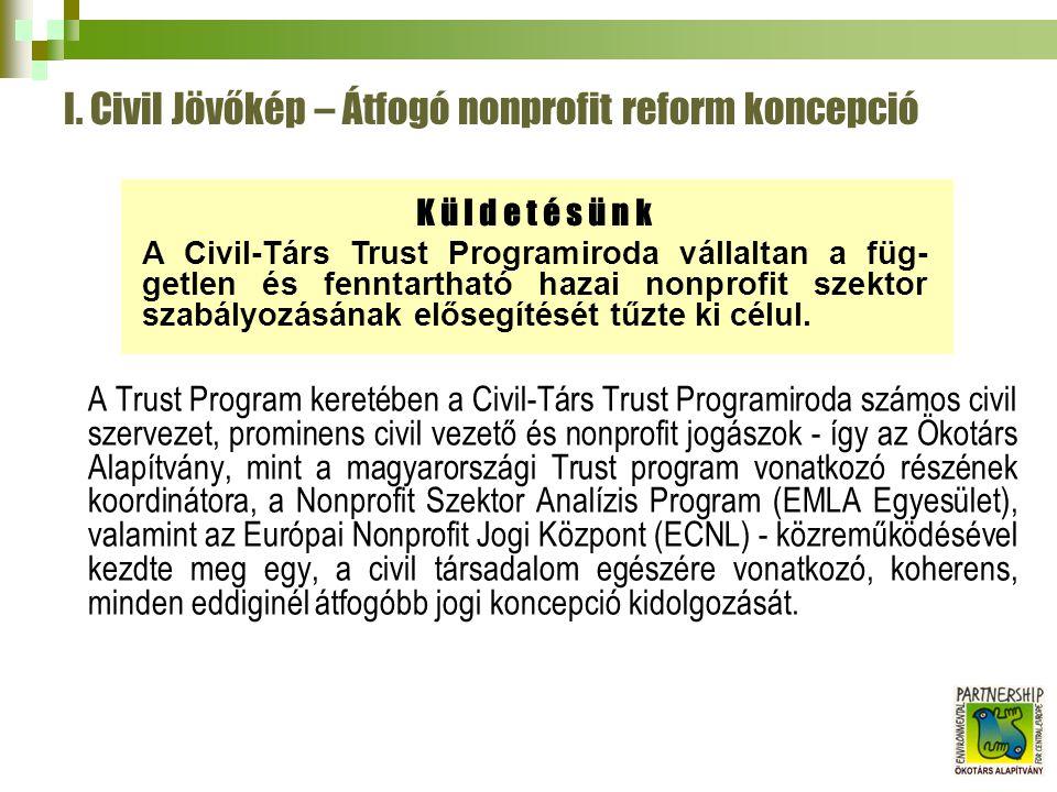I. Civil Jövőkép – Átfogó nonprofit reform koncepció A Trust Program keretében a Civil-Társ Trust Programiroda számos civil szervezet, prominens civil