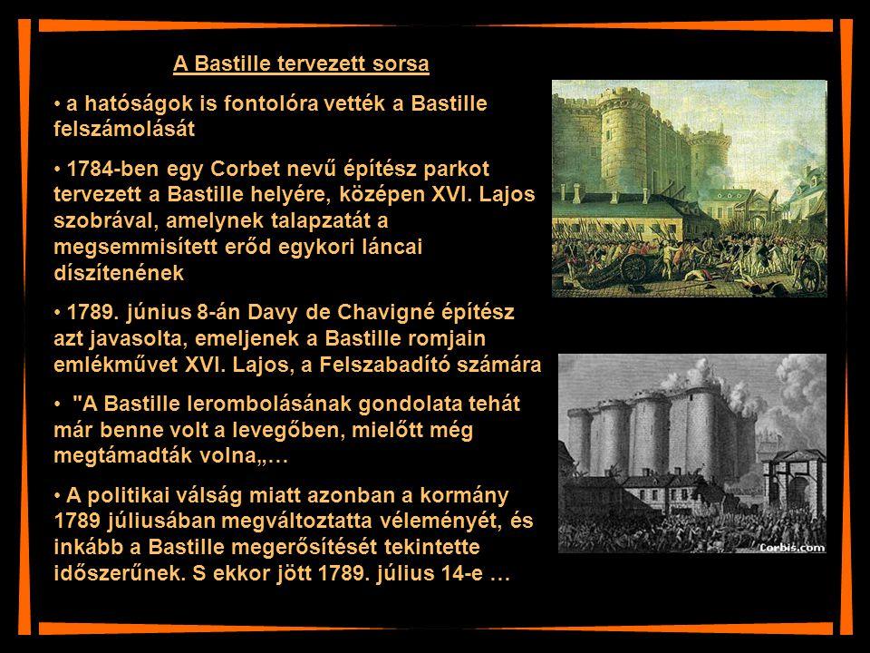 A Bastille tervezett sorsa a hatóságok is fontolóra vették a Bastille felszámolását 1784-ben egy Corbet nevű építész parkot tervezett a Bastille helyé