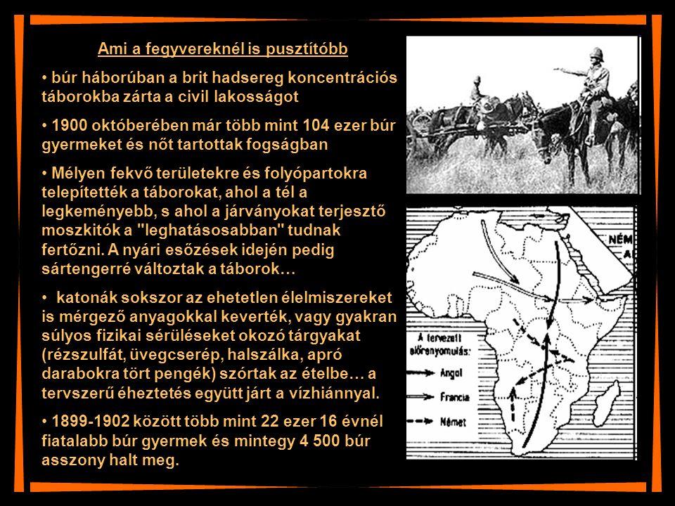 Ami a fegyvereknél is pusztítóbb búr háborúban a brit hadsereg koncentrációs táborokba zárta a civil lakosságot 1900 októberében már több mint 104 eze