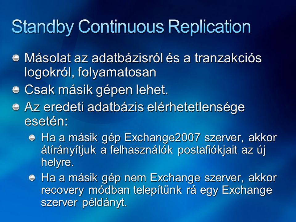 Másolat az adatbázisról és a tranzakciós logokról, folyamatosan Csak másik gépen lehet. Az eredeti adatbázis elérhetetlensége esetén: Ha a másik gép E