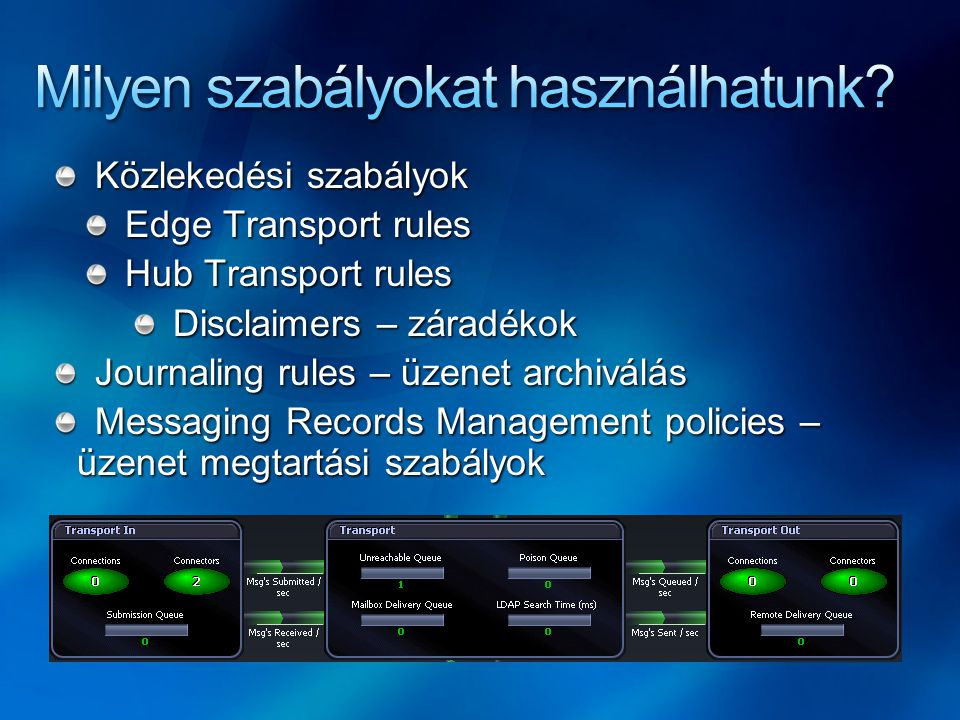 Közlekedési szabályok Edge Transport rules Hub Transport rules Disclaimers – záradékok Journaling rules – üzenet archiválás Messaging Records Manageme