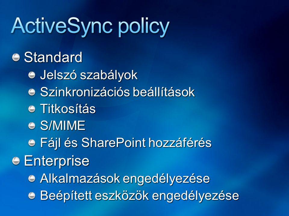 Standard Jelszó szabályok Szinkronizációs beállítások TitkosításS/MIME Fájl és SharePoint hozzáférés Enterprise Alkalmazások engedélyezése Beépített e