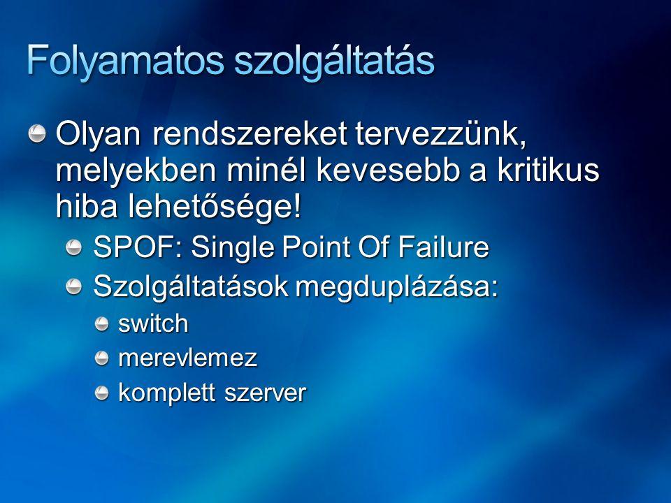 Olyan rendszereket tervezzünk, melyekben minél kevesebb a kritikus hiba lehetősége! SPOF: Single Point Of Failure Szolgáltatások megduplázása: switchm