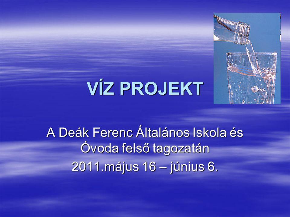 VÍZ PROJEKT A Deák Ferenc Általános Iskola és Óvoda felső tagozatán 2011.május 16 – június 6.