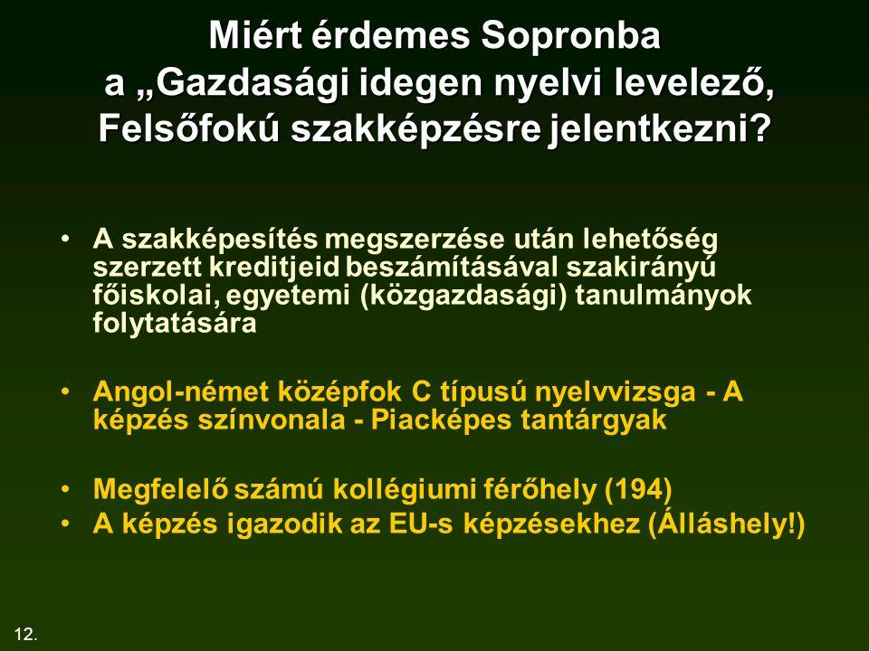 """12. Miért érdemes Sopronba a """"Gazdasági idegen nyelvi levelező, Felsőfokú szakképzésre jelentkezni? A szakképesítés megszerzése után lehetőség szerzet"""