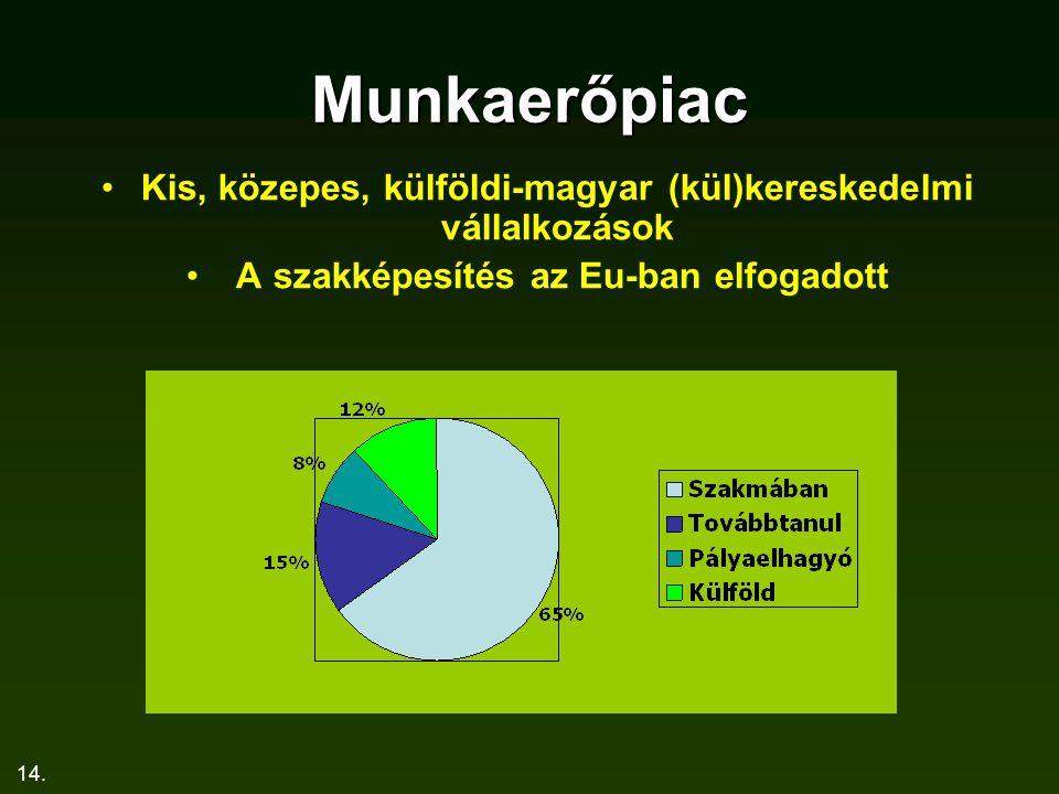 14. Munkaerőpiac Kis, közepes, külföldi-magyar (kül)kereskedelmi vállalkozások A szakképesítés az Eu-ban elfogadott