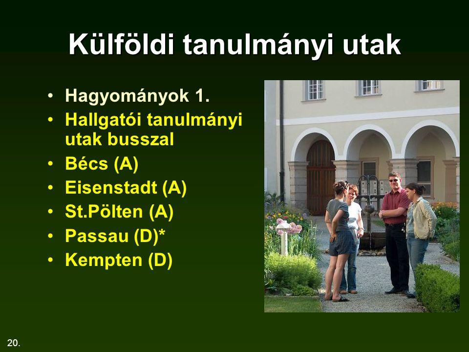 20. Külföldi tanulmányi utak Hagyományok 1. Hallgatói tanulmányi utak busszal Bécs (A) Eisenstadt (A) St.Pölten (A) Passau (D)* Kempten (D)