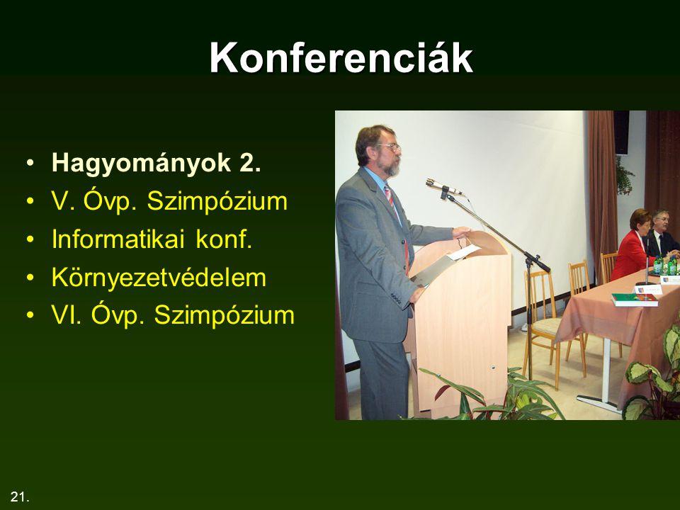 21. Konferenciák Hagyományok 2. V. Óvp. Szimpózium Informatikai konf. Környezetvédelem VI. Óvp. Szimpózium