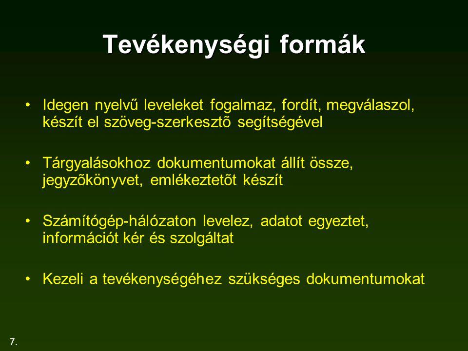 7. Tevékenységi formák Idegen nyelvű leveleket fogalmaz, fordít, megválaszol, készít el szöveg-szerkesztõ segítségével Tárgyalásokhoz dokumentumokat á