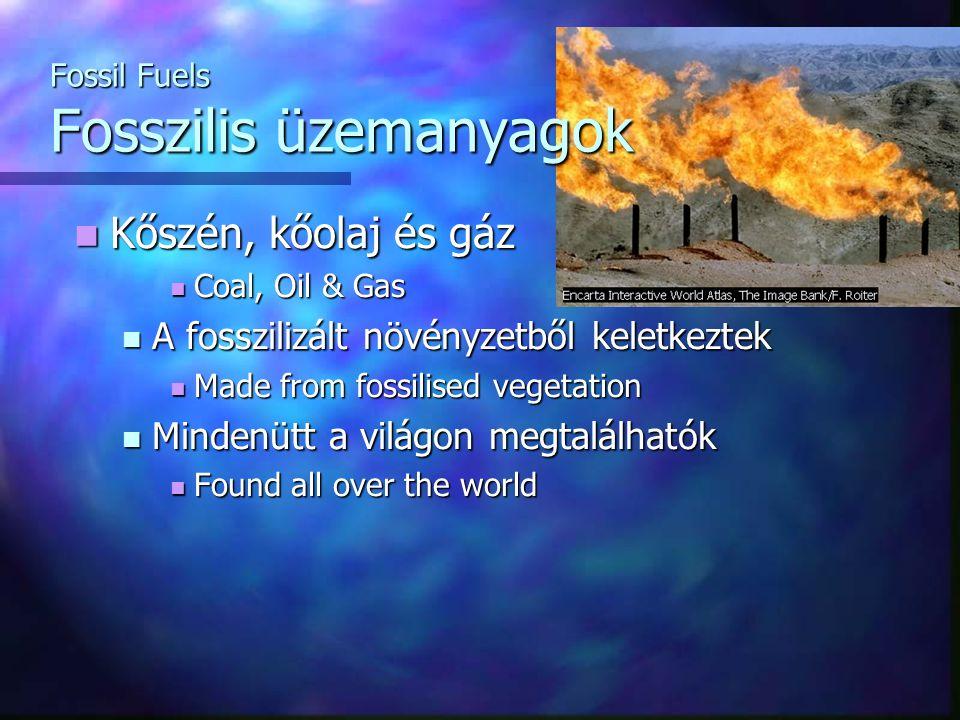 Kőszén, kőolaj és gáz Kőszén, kőolaj és gáz Coal, Oil & Gas Coal, Oil & Gas A fosszilizált növényzetből keletkeztek A fosszilizált növényzetből keletk