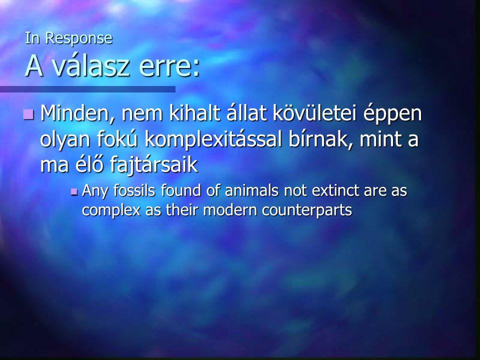 In Response A válasz erre: Minden, nem kihalt állat kövületei éppen olyan fokú komplexitással bírnak, mint a ma élő fajtársaik Minden, nem kihalt álla