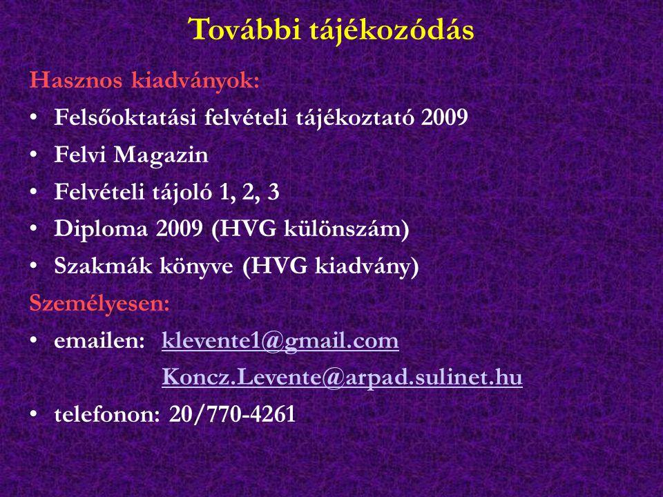 További tájékozódás Hasznos kiadványok: Felsőoktatási felvételi tájékoztató 2009 Felvi Magazin Felvételi tájoló 1, 2, 3 Diploma 2009 (HVG különszám) Szakmák könyve (HVG kiadvány) Személyesen: emailen: klevente1@gmail.comklevente1@gmail.com Koncz.Levente@arpad.sulinet.hu telefonon: 20/770-4261