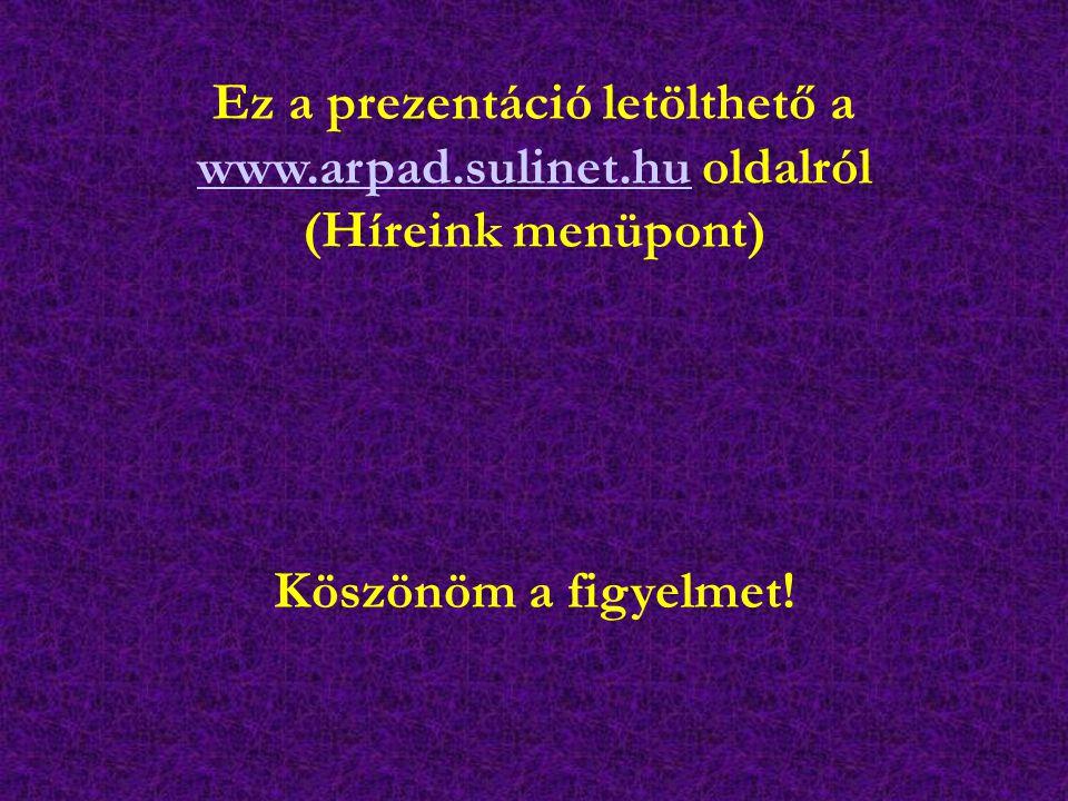 Köszönöm a figyelmet! Ez a prezentáció letölthető a www.arpad.sulinet.hu oldalról www.arpad.sulinet.hu (Híreink menüpont)