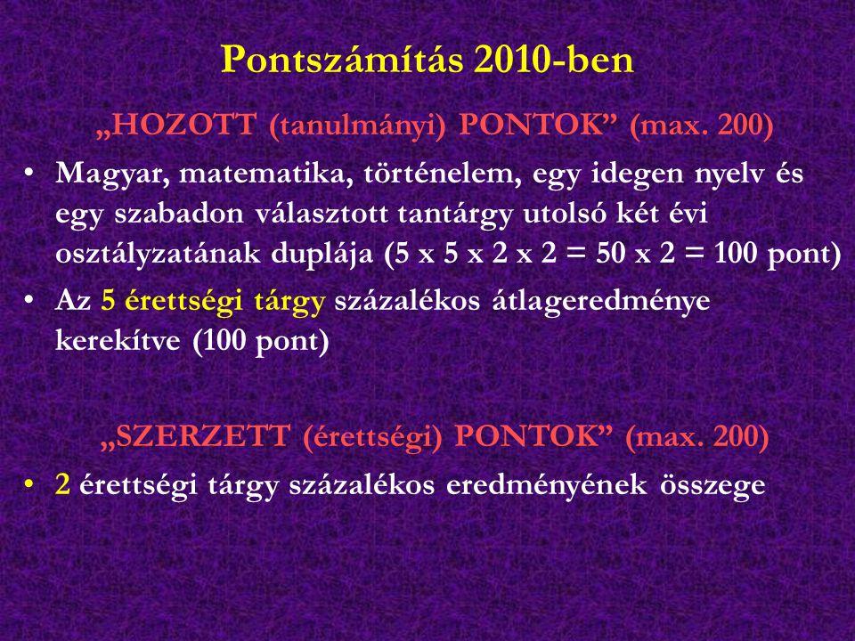"""Pontszámítás 2010-ben """"HOZOTT (tanulmányi) PONTOK"""" (max. 200) Magyar, matematika, történelem, egy idegen nyelv és egy szabadon választott tantárgy uto"""