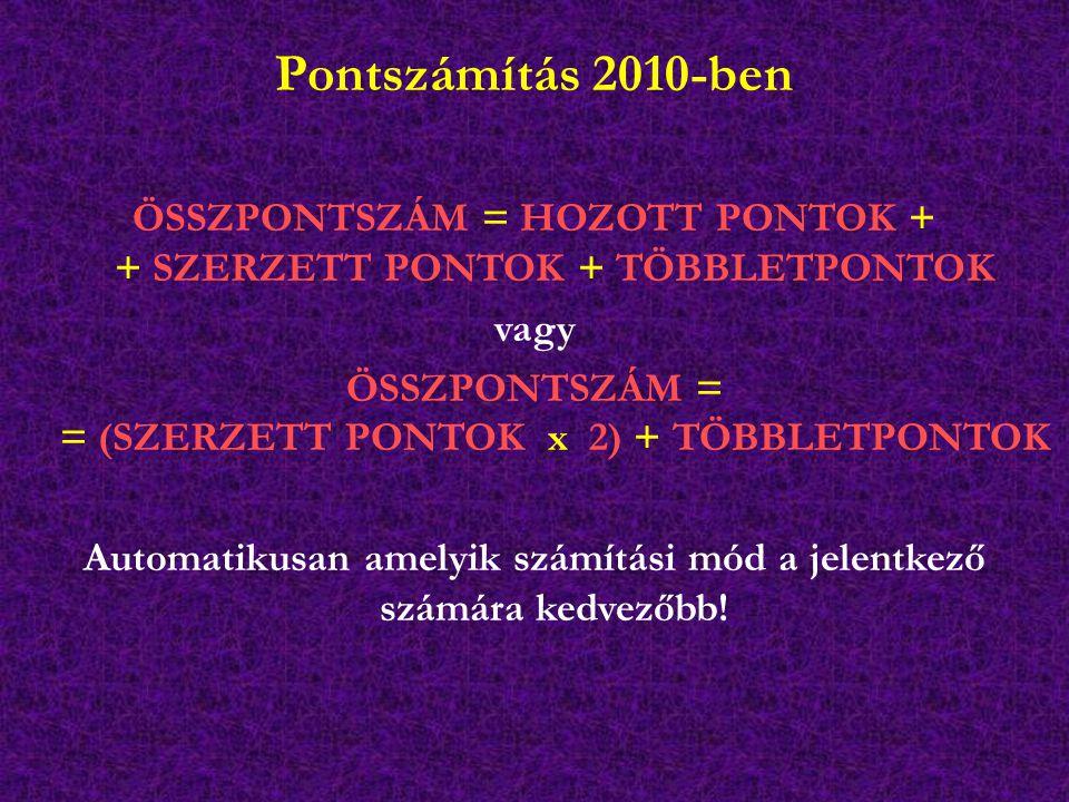 Pontszámítás 2010-ben ÖSSZPONTSZÁM = HOZOTT PONTOK + + SZERZETT PONTOK + TÖBBLETPONTOK vagy ÖSSZPONTSZÁM = = (SZERZETT PONTOK x 2) + TÖBBLETPONTOK Automatikusan amelyik számítási mód a jelentkező számára kedvezőbb!