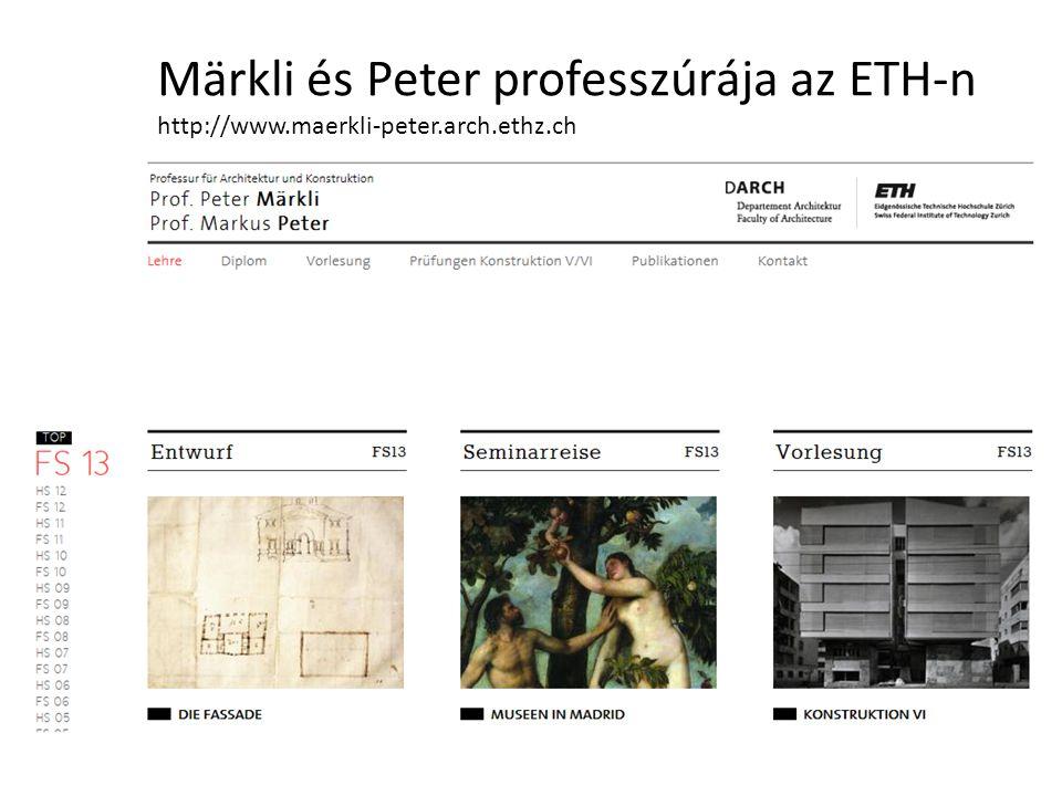 Märkli és Peter professzúrája az ETH-n http://www.maerkli-peter.arch.ethz.ch